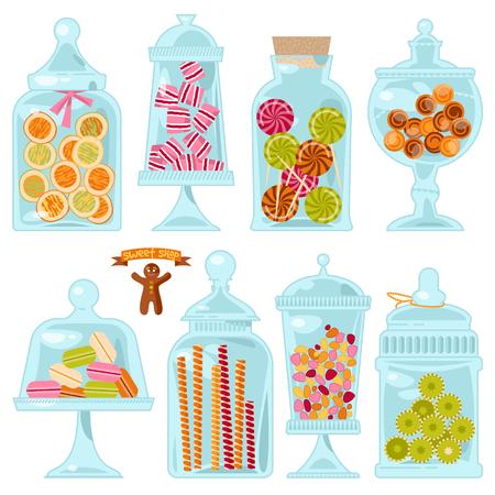 frasco: Tienda de dulces. Frascos de vidrio de diferentes formas con diferentes caramelos. ilustración vectorial Vectores