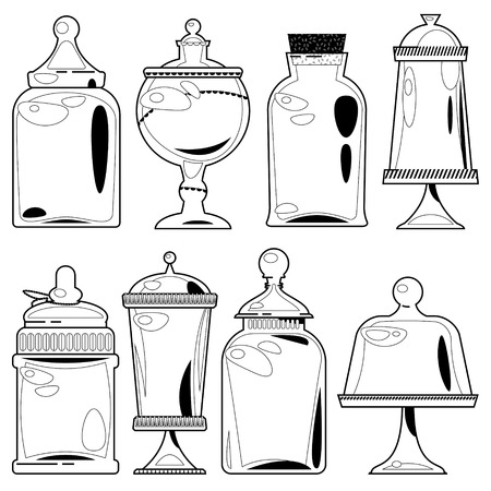 Set of ?lack and white 8 empty glass jars of various shapes. Vector illustration