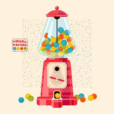 Gumball machine. Vector illustration  イラスト・ベクター素材