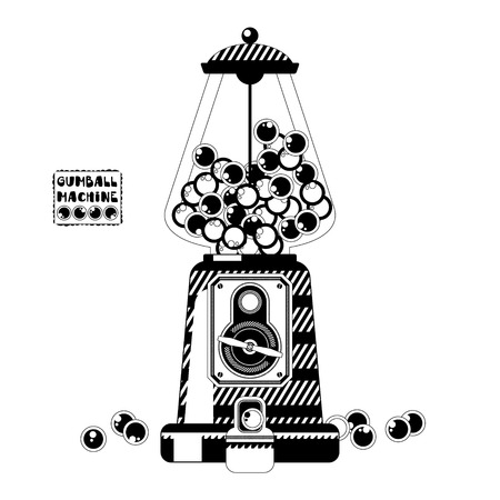gumball: Black and white gumball machine. Vector illustration Illustration