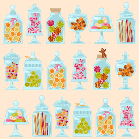 Sweet shop. Glass jars of various forms with different candies. Seamless background pattern. Vector illustration