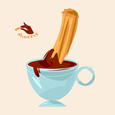 Churros and chocolate. Traditional spanish food. Vector illustration