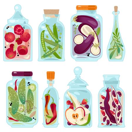 preserved: Different glass jars with preserved vegetables and fruit. Vector illustration Illustration