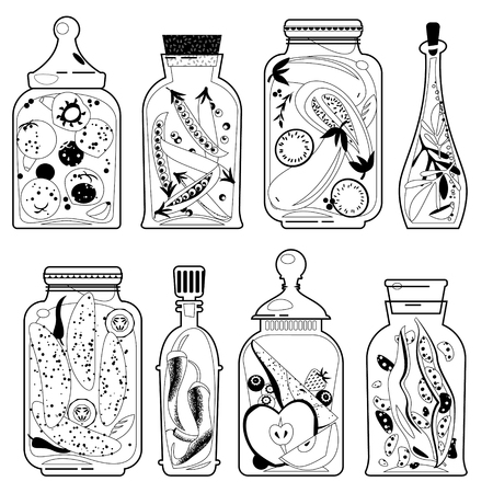preserved: Different glass jars with preserved vegetables and fruit. Black and white. Vector illustration Illustration