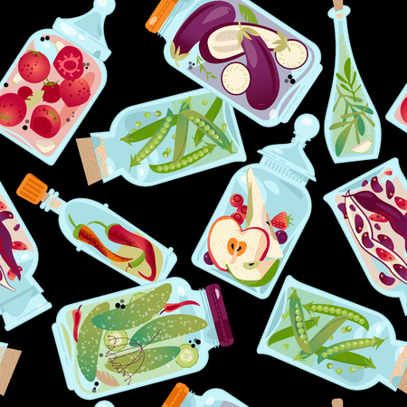 preserved: Different glass jars with preserved vegetables and fruit. Seamless background pattern. Vector illustration
