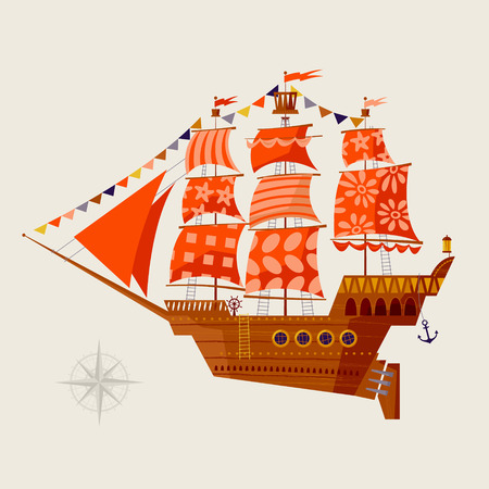 Old sailing ship. Nautical Collection. Vector illustration