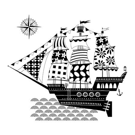 brig ship: Old sailing ship. Nautical Collection. Black and white. Vector illustration