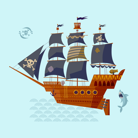 brigantine: Pirate Ship. Nautical Collection. Vector illustration Illustration