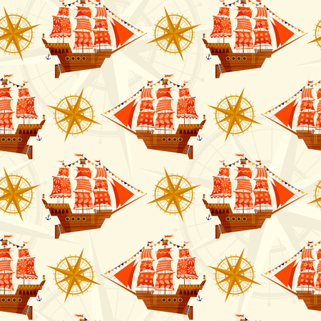 battleship: Old sailing ship. Nautical Collection. Seamless background pattern. Vector illustration