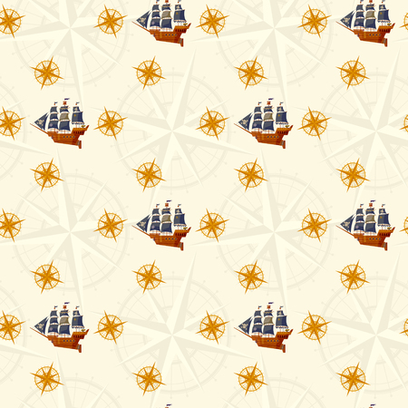 windrose: Pirate Ship and windrose. Nautical Collection. Seamless background pattern. Vector illustration