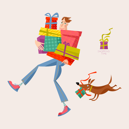 Shopping time. Man holding a pile of gift boxes. Vector illustration