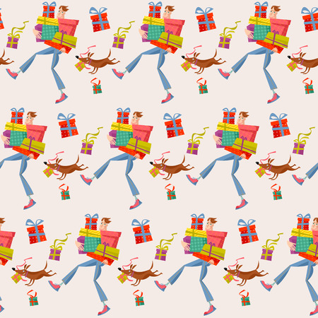 Shopping time. Man holding a pile of gift boxes. Seamless background pattern. Vector illustration
