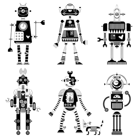 heavy heart: Set of black and white robots of different shapes. Vector illustration