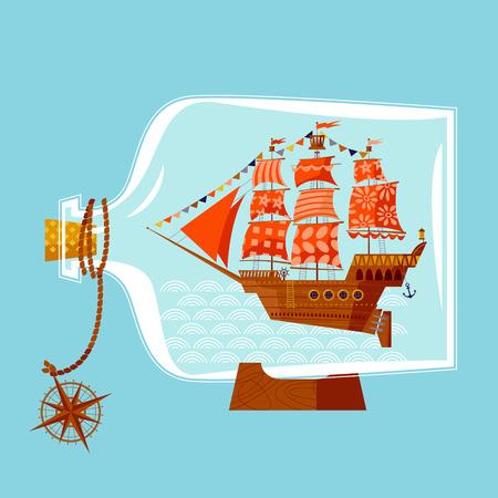 frigate: Ship in a bottle. Vector illustration