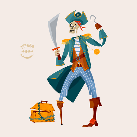 Skeleton Pirate and wooden chest with gold. Vector illustration Illustration