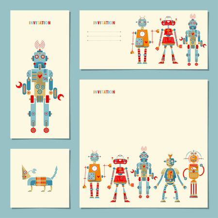 special event: 4 universal cards withmulti-colored robots. Template. Birthday, anniversary, children�s party, invitation, special event. Vector illustration