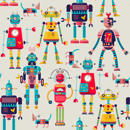 heavy heart: Robots of different shapes and multiple collors. Seamless background pattern. Vector illustration Illustration