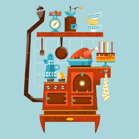 cocina vieja: estufa de estilo retro con electrodomésticos y utensilios de cocina de época. ilustración vectorial