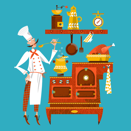 The chef is tasting soup in an old-fashioned kitchen. Vector illustration Illustration