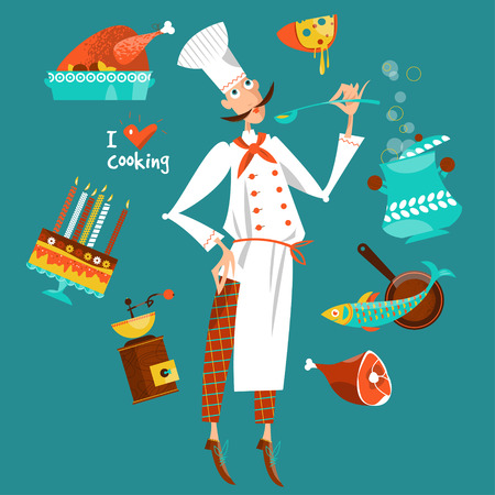 Chef cooking with various ingredients. I love cooking. The concept of cooking. Vector illustration