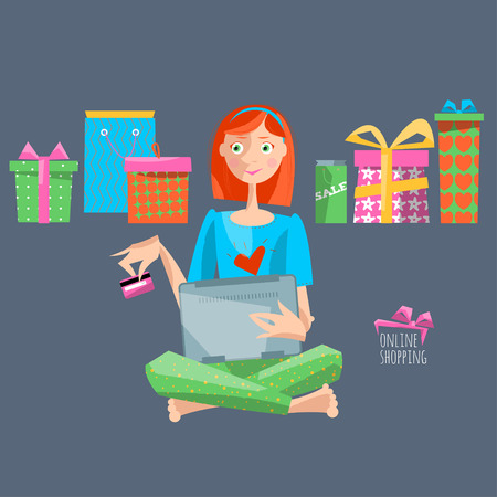 cyber girl: Young woman with laptop and credit card shopping online. Vector illustration