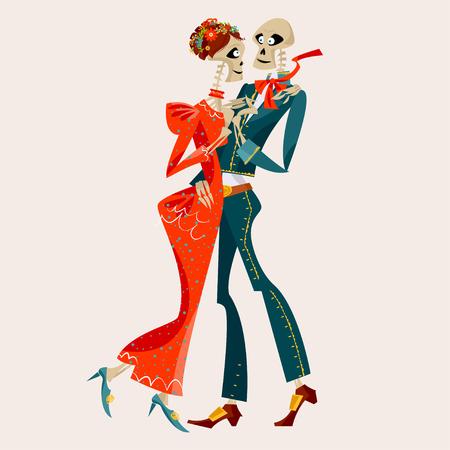 Dancing skeletons. Dia de Muertos. Mexican tradition. Vector illustration  イラスト・ベクター素材