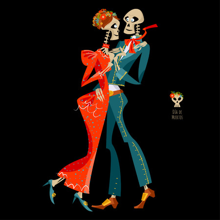 Dancing skeletons. Dia de Muertos. Mexican tradition. Vector illustration Illustration