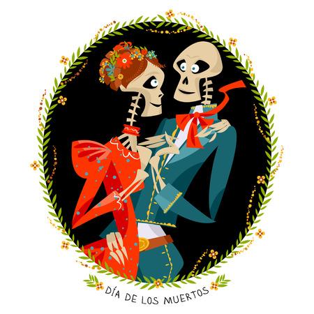 muertos: Skeleton couple in love. Dia de Muertos. Mexican tradition. Vector illustration