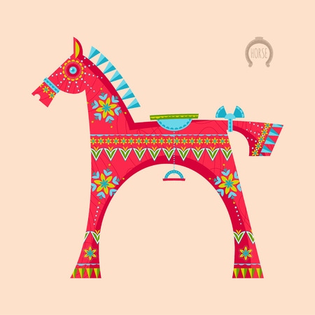 wooden toy: Wooden toy horse. Vector illustration