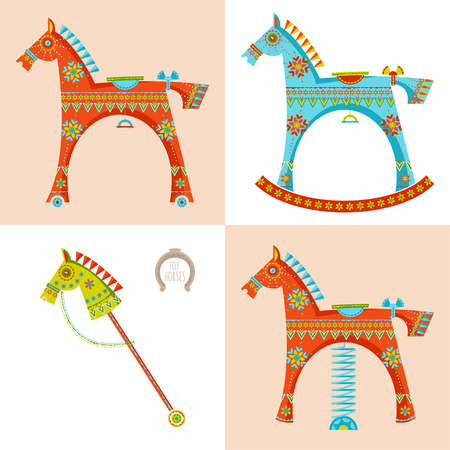 Set of various toy horses. Rocking horse, spring seesaw, wooden stick horse. Vector illustration
