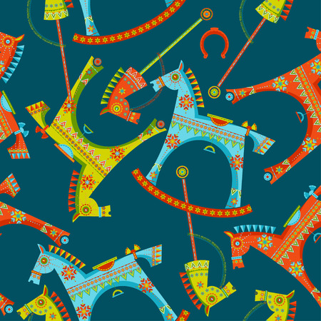 paper sculpture: Various toy horses. Rocking horse, spring seesaw, wooden stick horse. Seamless background pattern. Vector illustration