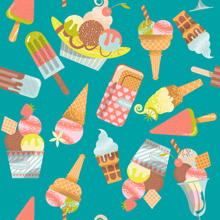 Different flavors of ice cream. Seamless background pattern. Vector illustration.