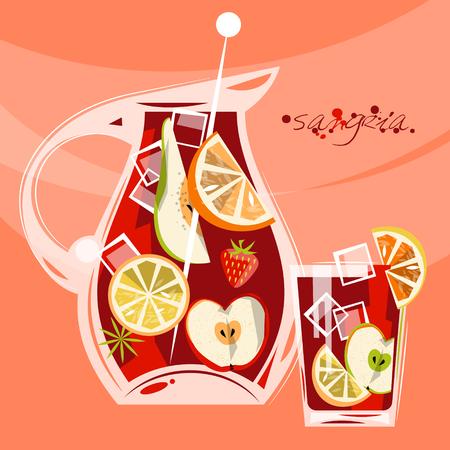 bevanda Tradizionale spagnolo. Sangria. illustrazione di vettore