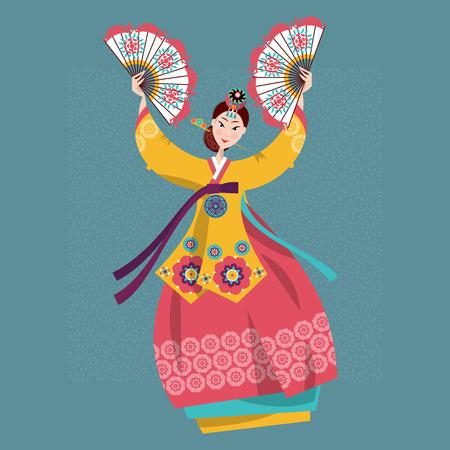Kobieta wykonywania tradycyjnych koreańskich fanów tańca. Koreańska tradycja. ilustracji wektorowych