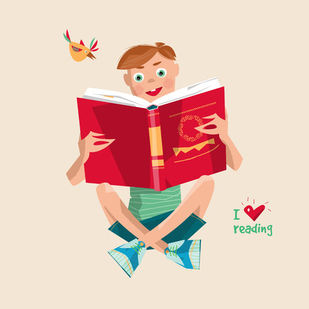 interesting: Boy with a book. I love reading. Literacy Day. Vector illustration Illustration