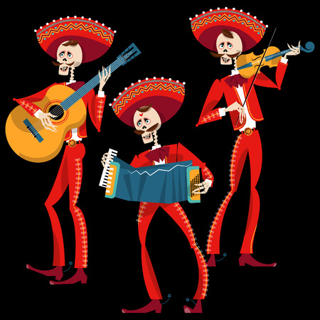 Dia de Muertos. Mariachi band of skeletons. Mexican tradition. Vector illustration  イラスト・ベクター素材