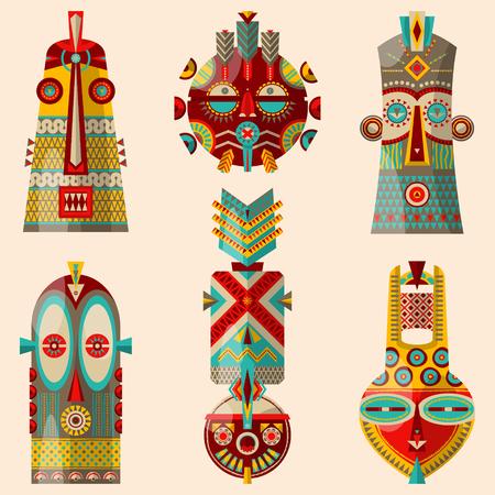 diferent: 6 multi-colored african masks of diferent shapes. Vector illustration