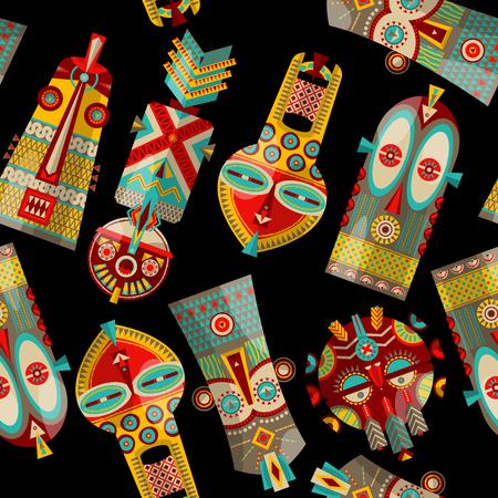 african mask: African masks of diferent shapes. Seamless background pattern. Vector illustration
