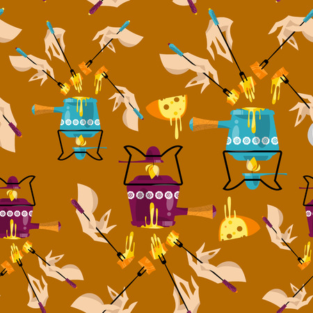 swiss: Cheese fondue. Traditional swiss food. Seamless background pattern. Vector illustration Illustration
