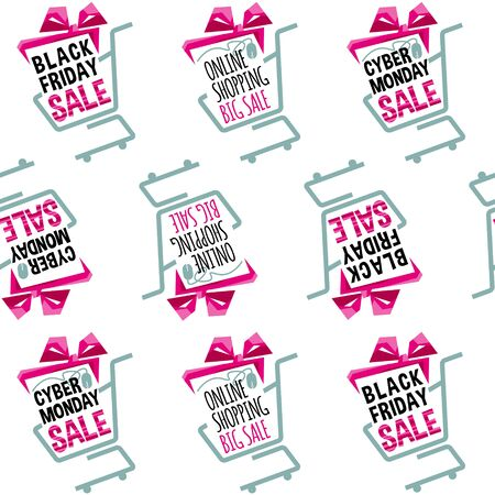 online specials: Shopping sale concept. Seamless background pattern. Vector illustration