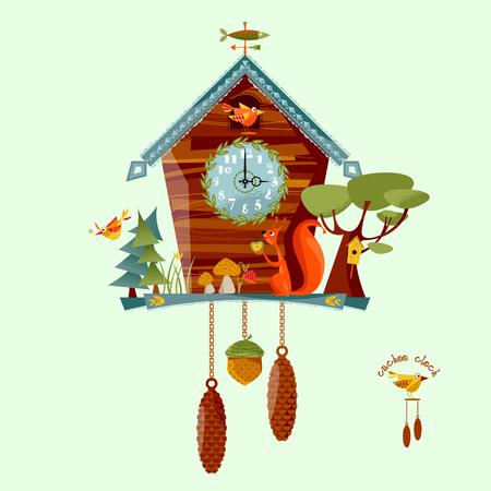 reloj cucu: reloj de cuco con una ardilla, árboles, bayas, setas. estilo rural. Ilustración del vector.