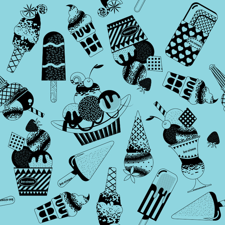 sorbet: Different flavors of ice cream. Black and white. Seamless background pattern. Vector illustration.