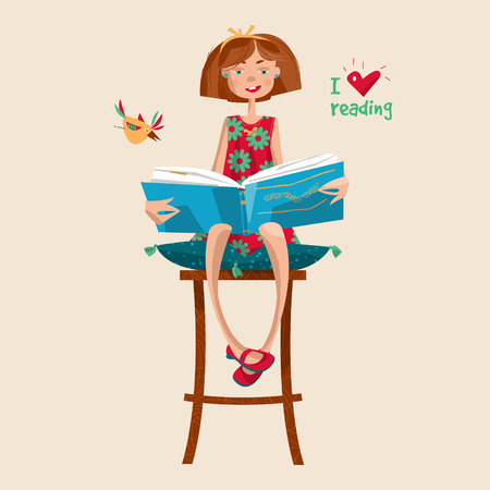 Girl with a book. I love reading. Literacy Day. Vector illustration Illustration