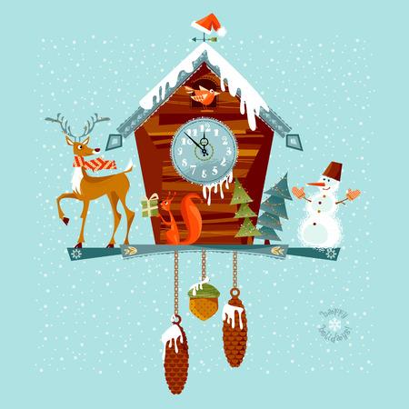 reloj cucu: reloj de cuco de Navidad con ciervos, ardilla y el muñeco de nieve. Ilustración del vector.