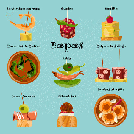 ajillo: Traditional spanish snack. Selection of tapas. Vector illustration