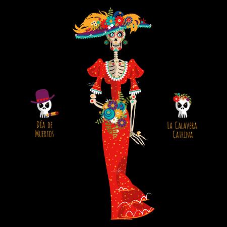 ラ カラベラ カトリーナ。エレガントな頭蓋骨。ダイヤ ・ デ ・ ムエルトス。メキシコの伝統。ベクトル図