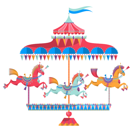Vintage carousel with colorful horses on a white background. Vector illustration