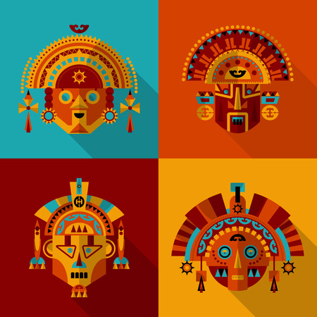Inca masks. Vector illustration