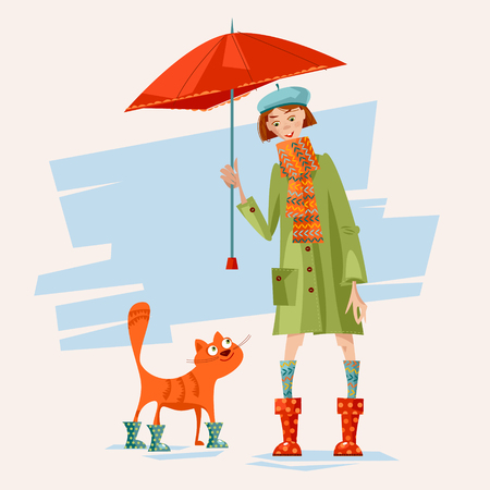caring: A girl and a cat wearing rain boots and caring an umbrella. Rainy day. Vector illustration Illustration