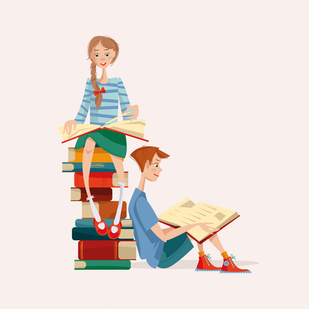 interested: Girl and boy read books. Literacy Day. Vector illustration Illustration